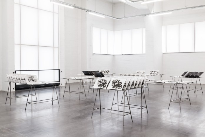 Rossella Biscotti, 168 Sections of a Human Brain, 2010 - 2014 108 gelatin silver prints on baryta paper, 30 x 40 cm (each) 7 steel tables installation view: For the Mnemonist, S. , WIELS, Brussels (BE), 2014 photo: Sven Laurent.