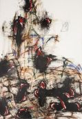 Thierry Delaroyère, La Paix en danger, 2017. pastel sec, acrylique, huile et mine de plomb sur bois, 116 x 81 cm © Patrice Lemesle