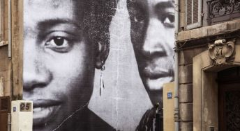 UNFRAMED, Portraits de mes grands-parents Berthe et Diallo revu par JR, Mali, 1973, Marseille, France, 2013