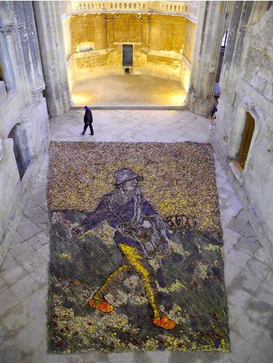 Vik Muniz, Le Semeur, d'après Van Gogh, 2012 - Eglise des Célestins à Avignon - Photo Les bon plans d'Avignon