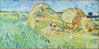Vincent van Gogh, Champ aux meules de blé, 1890 Huile sur toile, 50 × 100 cm Fondation Beyeler, Riehen/Basel, Sammlung Beyeler. Exposition Soleil chaud, soleil tardif. Les modernes indomptés à la Fondation Vincent van Gogh Arles