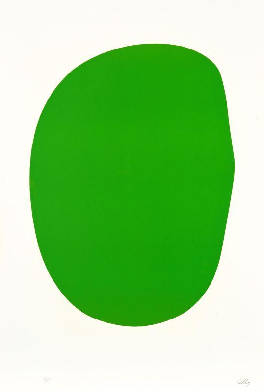 Ellsworth Kelly, Vert [Green] (AX7), de la Suite de vingt-sept lithographies en couleur [Suite of Twenty-Seven Color Lithographs], 1964-1965 lithographie sur papier Rives BFK, EA (éd. 75), 89,5 x 60,3 cm Institut National d'Histoire de l'Art, Paris © Ellsworth Kelly Foundation