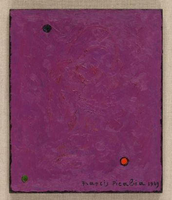 Francis Picabia, Points, 1949 Huile sur toile, 46 x 38,5 cm Collection particulière, Courtesy Galerie Michael Werne, Märkisch Wilmersdorf, Cologne et New York © ADAGP, Paris 2018