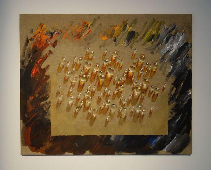 Kim Tschang-Yeul - L'Événement de la nuit à la chapelle du Méjan – Arles -Vue de l'exposition, dans la montée d'escalier