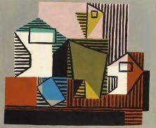 Pablo Picasso, Compotier, Bouteille et verre, 1922 Huile sur toile, 45,5 x 55,7 cm Nahmad collection, Monaco © Succession Picasso, 2018