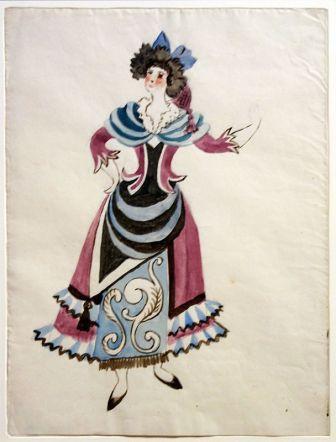 Projets de costumes pour le ballet Tricorne, 1919 - Vue de l'exposition Picasso et les Ballets russes, entre Italie et Espagne au Mucem