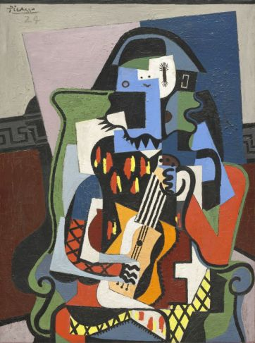Pablo Picasso, Arlequin musicien, 1924, huile sur toile, 130 x 97.2 cm, Washington, National Gallery of Art Given in loving memory of her husband, Taft Schreiber, by Rita Schreiber, 1989.31.2, photo © Succession Picasso 2018