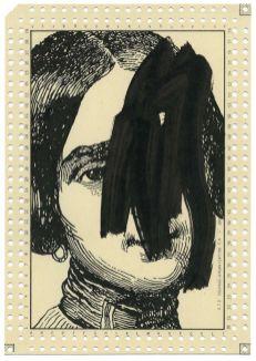 Benjamin Monti, Sans titre, 2015, encre de chine sur carte perforée de la « Courage-Organisation SA « 21 x 14,7 cm