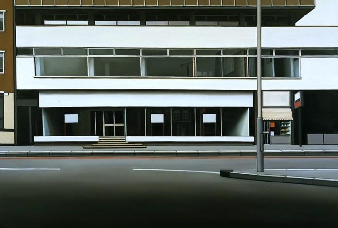Lisa Milroy, Old Street Roundabout, 1995. huile sur toile, Collection Frac Occitanie Montpellier. Visuel fourni par la Galerie Jennifer Flay