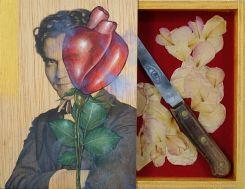Quim Domene, Poeta En Nueva-York (Frederico Garcia Lorca), 2018 - Technique mixte sur bois et objets. 21x21 cm