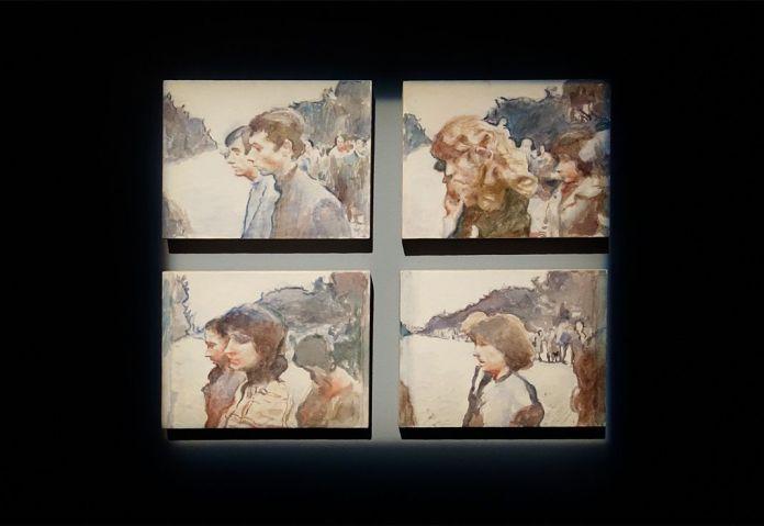 Adrian Paci - The Procession, 2016 - Exposition Ligne de fuite - Carré d'art - Nîmes. Quatre aquarelles sur papier contrecollées sur contreplaqué, 18 x 24 x 2,2 cm chaque. Collection FRAC Aquitaine.
