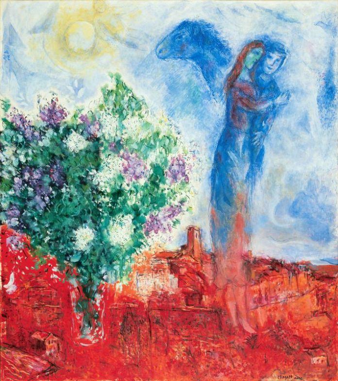 Marc Chagall Couple au dessus de Saint-Paul 1970-1971 Huile, tempéra et sciure sur toile 145 x 130 cm Collection particulière © ADAGP, Paris, 2018 © Archives Marc et Ida Chagall, Paris