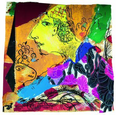 Marc Chagall Esquisse pour Le Rappel 1968-1971 Gouache, encre de Chine, pastel, crayon noir, tissus imprimés, papiers repeints collés sur papier 16 x 16,2 cm Collection particulière © ADAGP, Paris, 2018 © Archives Marc et Ida Chagall, Paris