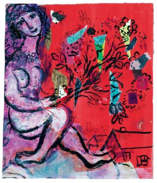 Marc Chagall Esquisse pour Nu mauve vers 1967 Gouache, encre de Chine, pastel, papiers de couleurs, papiers repeints et tissus collés sur papier 24,3 x 20,6 cm Collection particulière © ADAGP, Paris, 2018 © Archives Marc et Ida Chagall, Paris