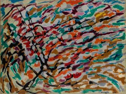 Elvire Jan Composition 1958 Huile sur toile 100 x 100cm Coll. part., Suisse
