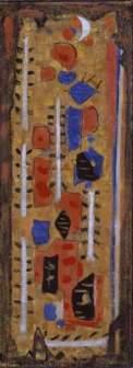 Roger Bissière Pousses blanches 1953 Détrempe à l'œuf sur toile de jute préparée en jaune soufre 138 x 50cm Coll. Fondation Jean et Suzanne Planque (en dépôt au Musée Granet, Aix-en-Provence)