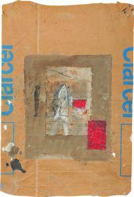 Sans titre, 2001. Acrylique sur papier (sac de ciment). 85 × 58 cm. Signé et daté côté gauche, mention : « St Louis Sénégal ». Atelier de l'artiste © Atelier de l'artiste