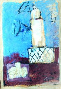 Sans titre, non daté. Acrylique sur papier. Mention : « St Louis Sénégal ». 84 × 59 cm. Atelier de l'artiste © Atelier de l'artiste