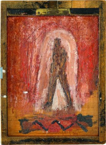 Sans titre, 1994. Peinture sur ancien châssis en bois de labo photo. 22,5 × 16 cm. Collection privée, Bordeaux © Jean Grelet—Le Labo Photo Bordeaux