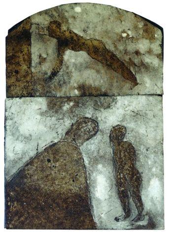 Sans titre. Peinture sur plaque bitumée. 41,5 × 29,5 cm. Non signé et non daté. Collection privée, Bordeaux © Jean Grelet—Le Labo Photo Bordeaux