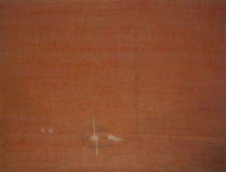 Lina Jabbour, Tempête orange (les palmiers) détail, 2013 Crayon de couleur sur papier Arches 110 x 198 cm Collection FRAC OM - Photo : Lina Jabbour