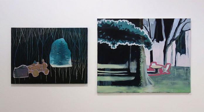 Caroline Vicquenault - Sans titre, 2017, huile sur toile, 60 x 80 et 100 x 80 cm. Sud magnétique - Vidéochroniques. Photo En revenant de l'expo !