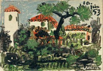 Pablo Picasso (1881-1973), Jardin à Vallauris, Vallauris, 10 juin 1953, huile et peinture laque (?) sur toile, 19,1 x 26,9 cm Solomon R. Guggenheim Museum, New York, Thannhauser Collection, don Justin K. Thannhauser, 78.2514.64 © Succession Picasso 2019