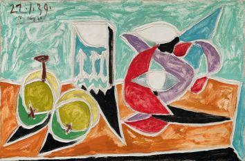 Pablo Picasso (1881-1973), Nature morte : Fruits et pot, 22 janvier 1939, huile et peinture laque (?) sur toile, 27,2 x 41 cm Solomon R. Guggenheim Museum, New York, Thannhauser Collection, don Hilde Thannhauser, 84.3231 © Succession Picasso 2019