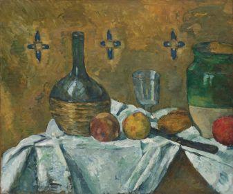 Paul Cézanne (1839-1906), Fiasque, verre et poterie, vers 1877, huile sur toile, 46,2 x 55,2 cm Solomon R. Guggenheim Museum, New York, Thannhauser Collection, don Justin K. Thannhauser, 78.2514.3