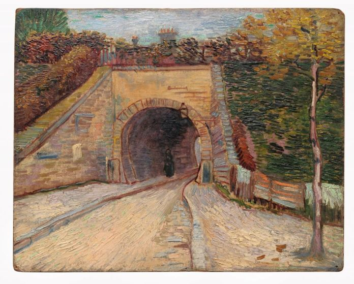 Vincent van Gogh (1853-1890), Le Viaduc, Asnières, 1887, huile sur carton, 32,7 x 41 cm Solomon R. Guggenheim Museum, New York, Thannhauser Collection, don Justin K. Thannhauser, 78.2514.17