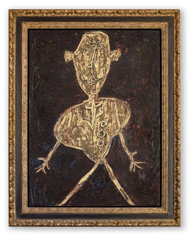 Jean Dubuffet, Henri Michaux acteur japonais, décembre 1946, huile sur toile, 130 × 97cm. Financière Saint-James; Courtoisie Applicat-Prazan, Paris © Financière Saint-James/Courtoisie Applicat-Prazan, Paris © Adagp, Paris2019