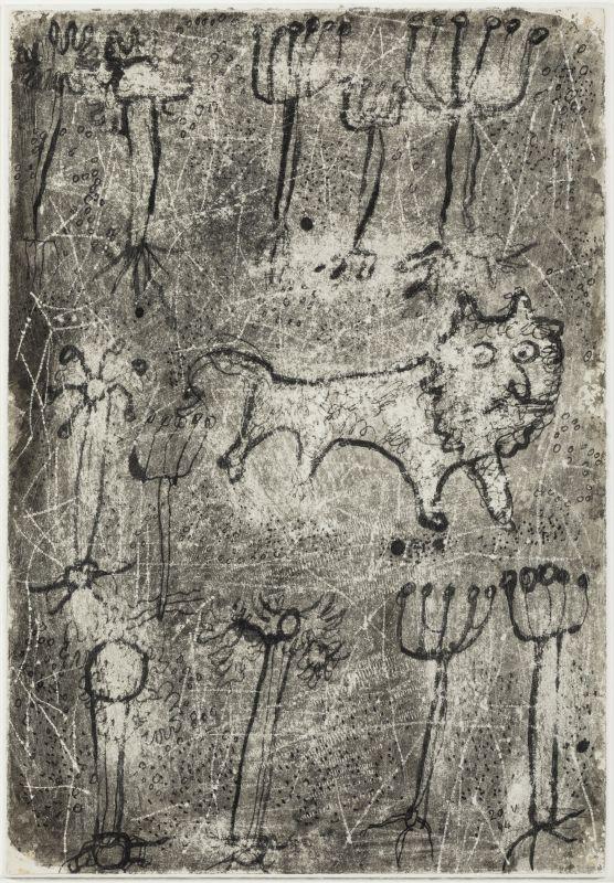 Jean Dubuffet, Lion dans la jungle, 20 mai 1944, encre de Chine et grattages sur papier, 25 × 20cm. Collection privée, Europe © Vincent Everarts © Adagp, Paris2019.