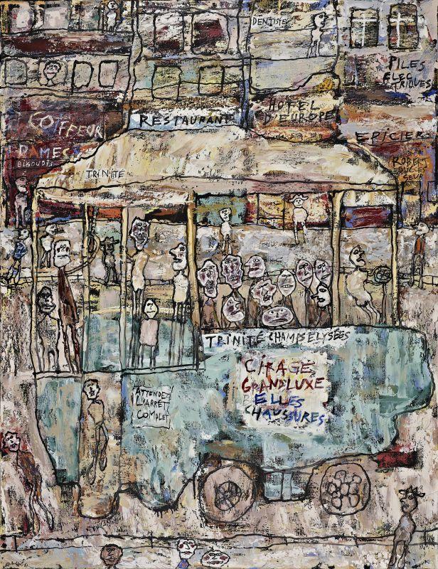 Jean Dubuffet, Trinité-Champs-Élysées (série «Paris Circus»), 25-26 mars 1961. Huile sur toile, 115,8 × 89,7cm. Fondation Gandur pour l'art, Genève © Fondaion Gandur pour l'art, Genève. Photographe.: Sandra Pointet © Adagp, Paris2019.