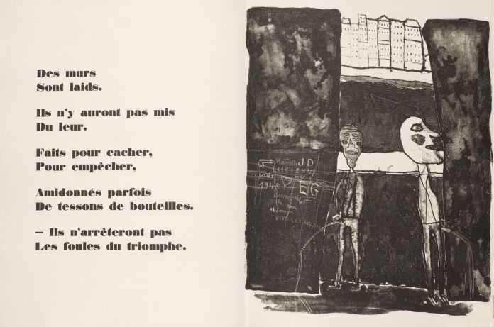 Jean Dubuffet (lithographie), Eugène Guillevic (poème), Les Murs, Les Éditions du livre, Paris, 1950. PlancheVIII «Pisseurs au mur». Collection Fondation Dubuffet © Fondation Dubuffet, Paris © Adagp, Paris2019