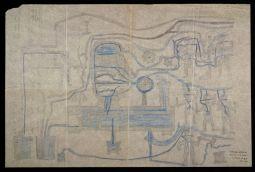 Robert Gie, sans titre (Distributeur d'effluves), vers 1916, crayon de couleur sur papier calque, 49,5 × 74,5cm. Collection de l'Art Brut, Lausanne © Arnaud Conne, Atelier de numérisation – Ville de Lausanne.