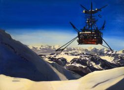 Cyril Duret, Téléphérique Glacier des Diablerets, 2017. Tableau de la série D'après Georges Mathieu Huile sur toile, 140 x 200 cm