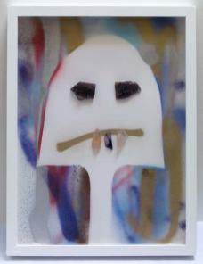 Rodolphe Huguet - MinHerói, (Portrait de mineur), 2012-2013 - Dessin à la bombe aérosol, papier aquarelle, collage de pierres précieuses lapidées, améthyste violette, quartz rose, améthyste. 50 x 38 cm