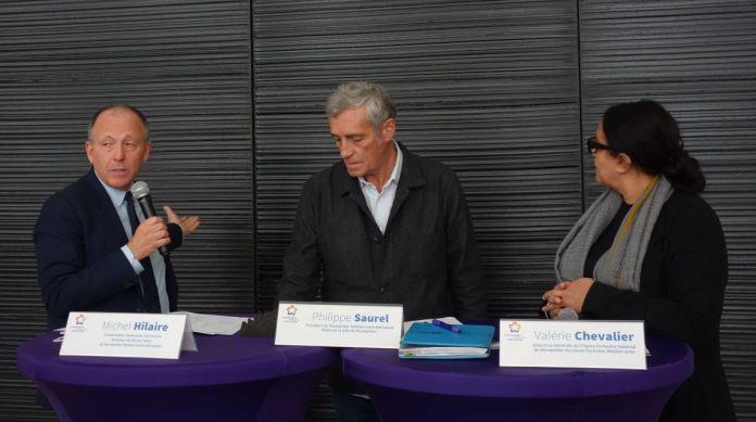 Michel Hilaire, Philippe Saurel et Valérie Chevalier - Présentation de Soulages à Montpellier au Musée Fabre