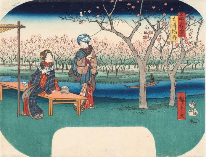 Utagawa Hiroshige (1797 - 1858), Osawa Sanai, Série Célèbres lieux en fleur (détail), 1840 Nishiki-e, 29,3 x 22,7 cm, Collection Georges Leskowicz, Photo : © Christian Moutarde