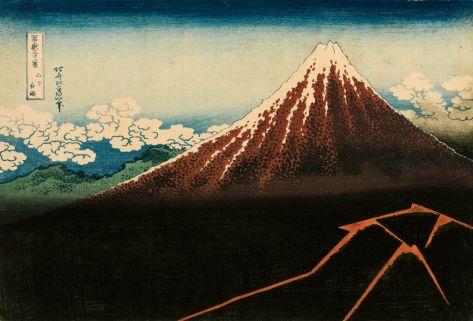 Katsushika Hokusai (1760 - 1849), Pluie fine au sommet du mont Fuji de la série Trente-six vues du Fuji vers 1831 nishiki-e, 26,1 x 38,8 cm Collection Georges Leskowicz, Photo : © Fundacja Jerzego Leskowicza