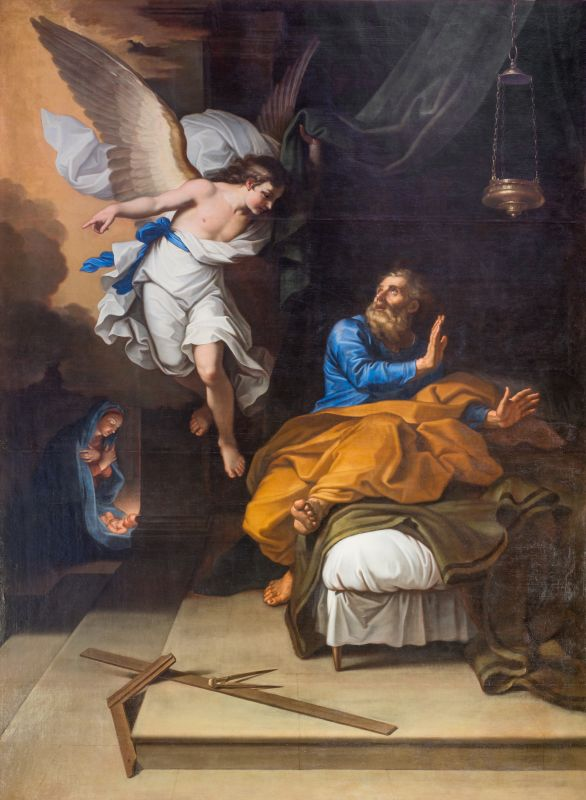 Nicolas Mignard, L'Ange apparaît à Joseph et lui ordonne de prendre la fuite, 1664