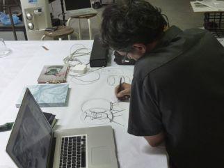 Pascal Broccolichi dans l'atelier, 2012 - Photo Cirva
