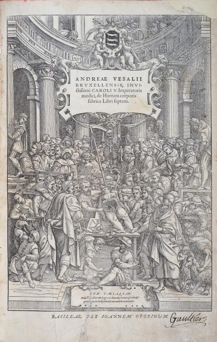 André Vésale, De humani corporis fabrica libri septem, frontispice, 1555