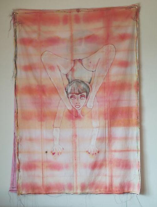 Cendres Lavy - Faire front (Autoportrait) - dessin, peinture (pigments naturels et déchets/ compost de cuisine), suture avec fils de couleur sur Popeline 135x90cm
