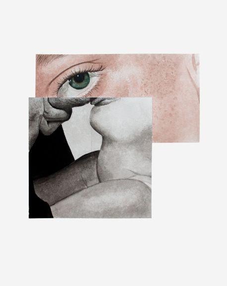 Léo Dorfner - Corine Borgnet - The eye in the sky - aquarelle sur papier, 50x40cm