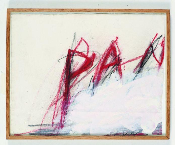 Cy Twombly, Pan, 1980 Polyptyque en 7 éléments Huile, pastel gras, mine de plomb, gravure, affiche, papier et papier chiffon 38,4 x 47,5 cm - 59 x 59 cm- 76 x 56,5 cm - 133 x 159 cm - 70 x 48,7 cm - 70 x 48,7 cm - 65,7 x 50,2 cm Donation Yvon Lambert en 2012