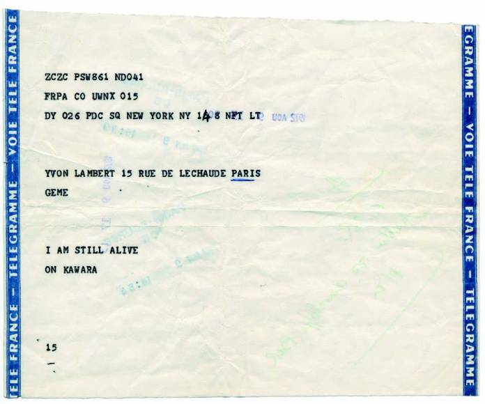 On Kawara, I Am Still Alive, 1972. © Donation Yvon Lambert à l'État français / Centre national des arts plastiques / Dépôt à la Collection Lambert, Avignon