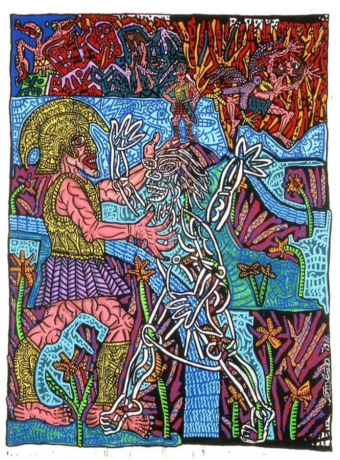 Robert Combas, Enée descend aux enfers, 1988 © Donation Yvon Lambert à l'État français / Centre national des arts plastiques / Dépôt à la Collection Lambert, Avignon