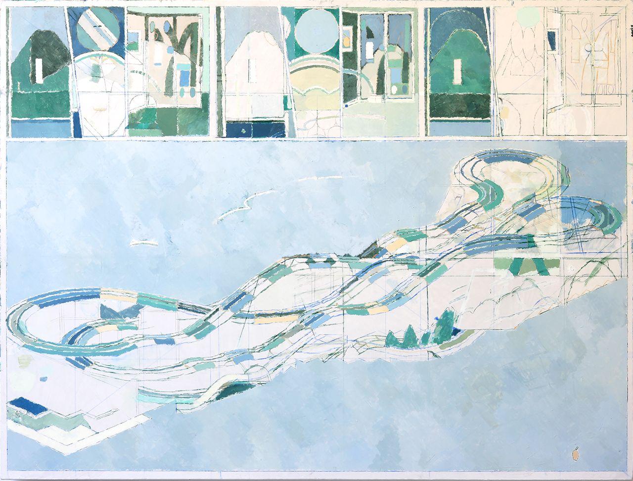 Pierre Bellot, Composition, huile sur toile, 150×200, 2020