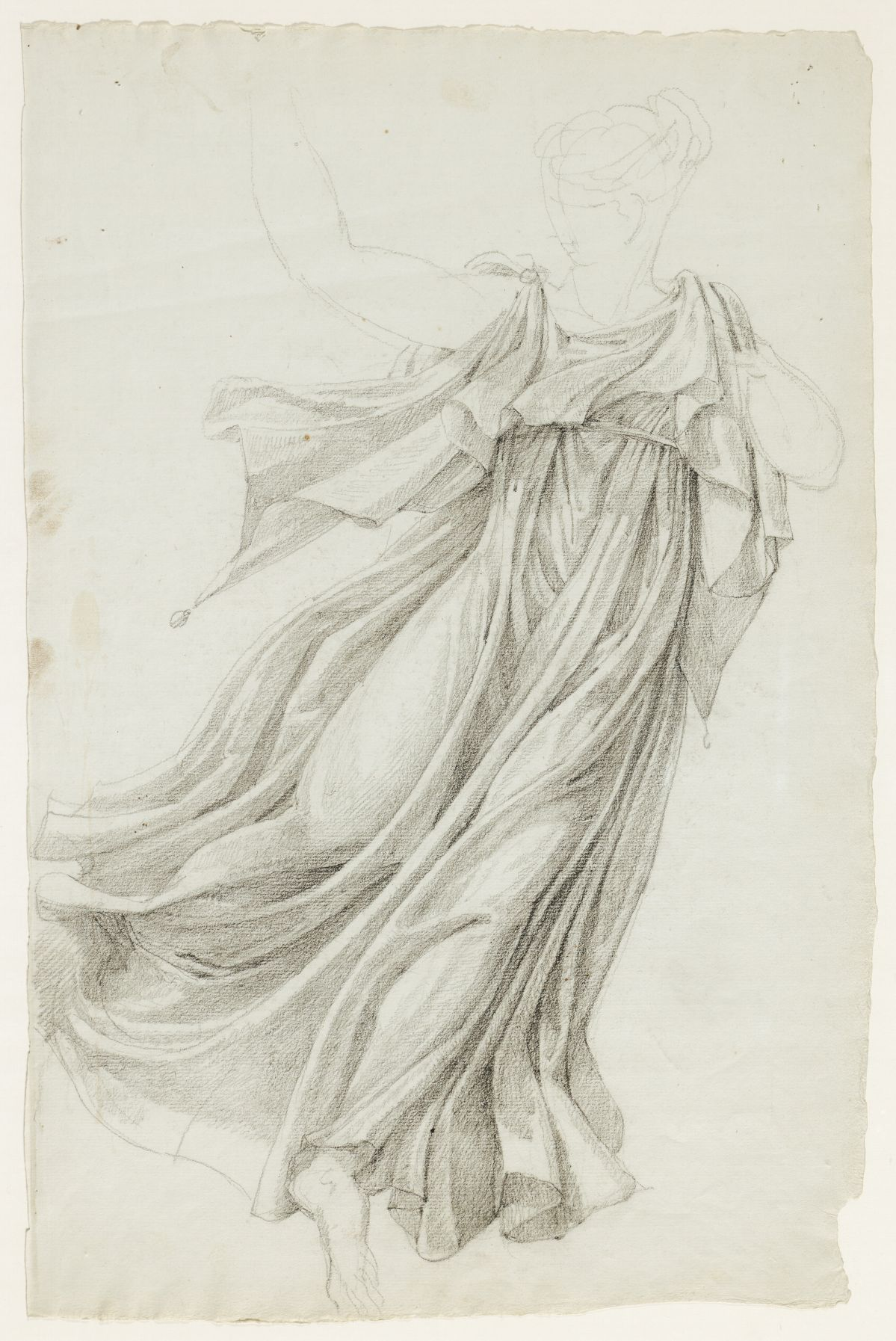 Jacques Réattu - Plafond du Grand-Théâtre de Marseille, étude de draperie pour une Muse Arles, 1819. pierre noire, rehaut de craie blanche. 59,5 x 46 cm